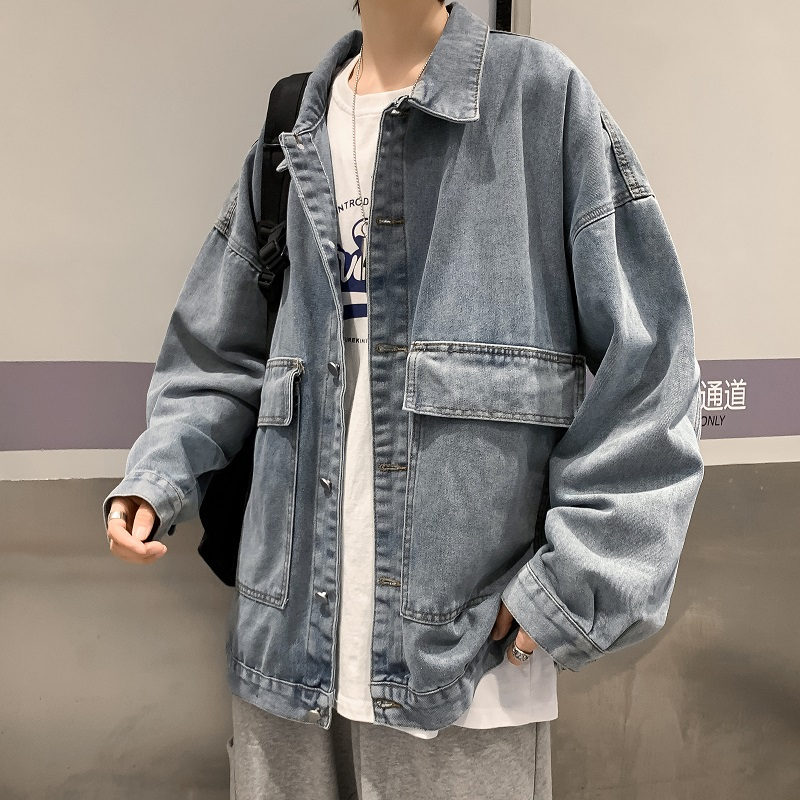 Spring denim jacket male loose Korean version of the trend of handsome Hong Kong style ins wild couple men and women tooling jacket