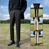 黑色西裤男直筒宽松韩版潮流修身显瘦小脚垂感休闲九分西装裤套装