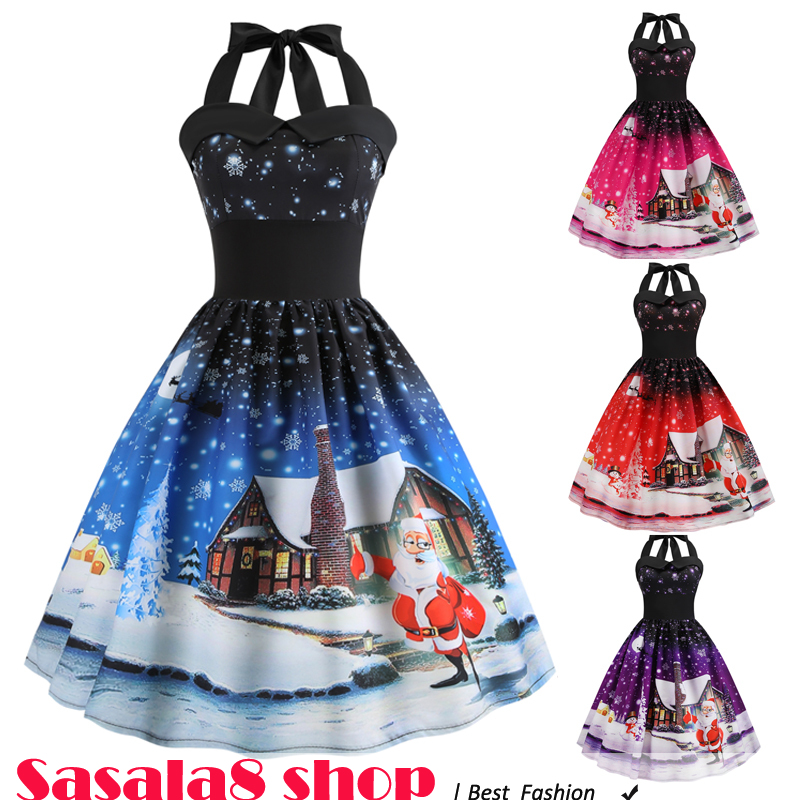 2019 Christmas print dress women holiday Halter skirt 圣诞