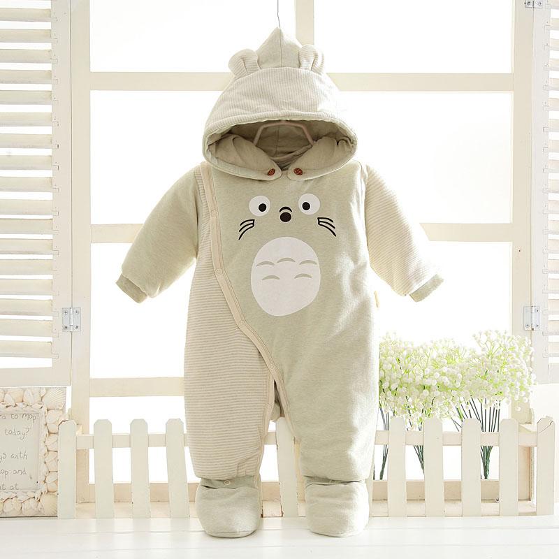 彩棉袄婴儿连体衣服加厚春秋冬季0岁3个月宝宝新生儿棉衣外出服