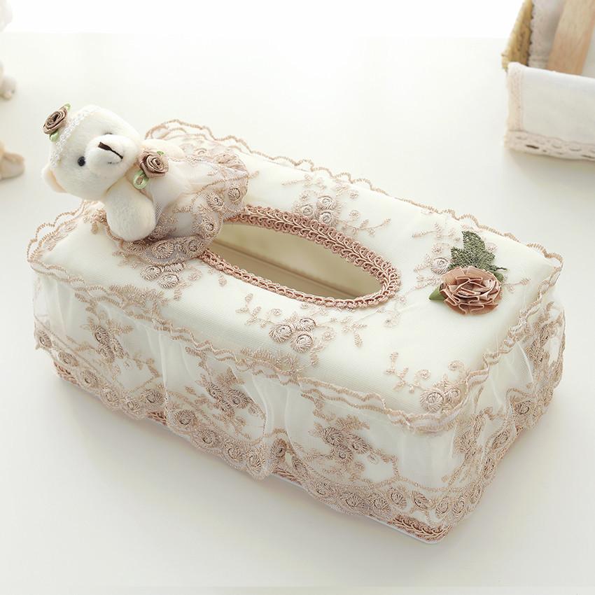 欧式小熊布艺纸巾盒田园创意蕾丝纸巾餐厅客厅桌面塑料抽纸盒子