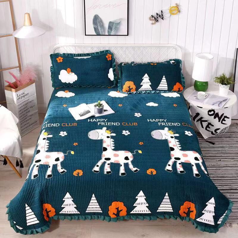 【加柔加密】水晶绒床盖毛毯绗缝金丝绒床单珊瑚绒防滑垫毛绒毯子
