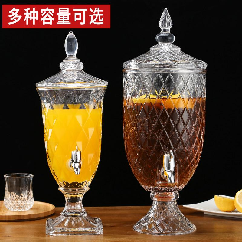 餐厅无铅玻璃果汁罐啤酒壶冷饮水壶带龙头大容量柠檬茶罐冰镇茶缸