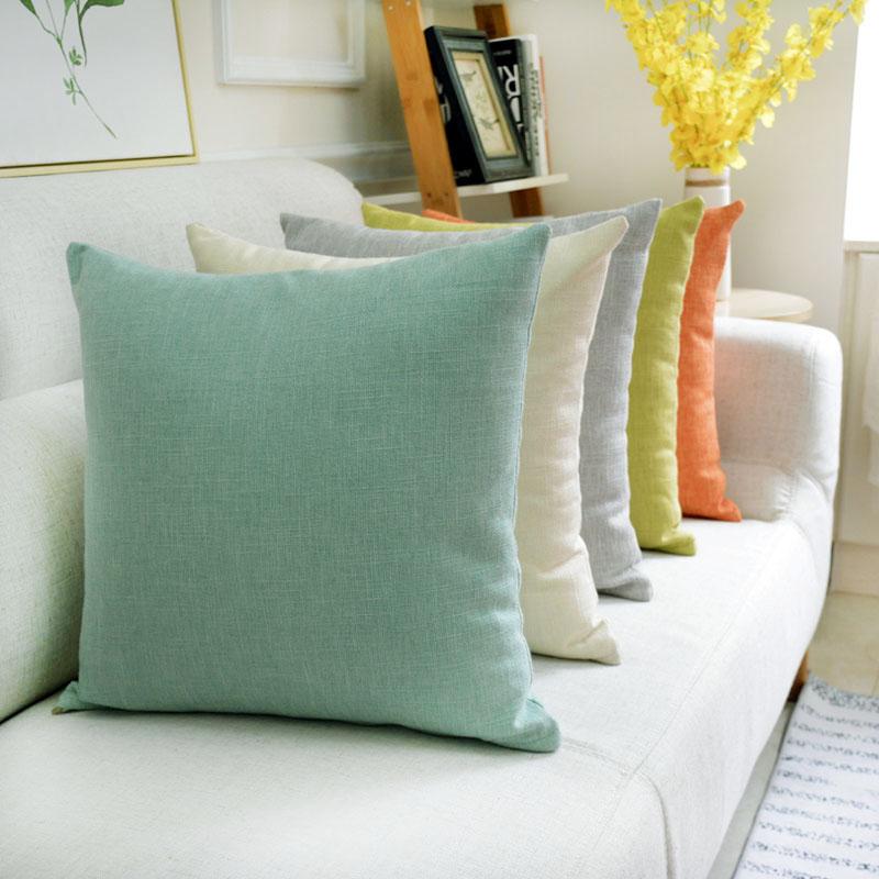 简约现代纯色亚麻抱枕套不含芯沙发靠垫办公室腰枕床头靠背垫定制限时2件3折