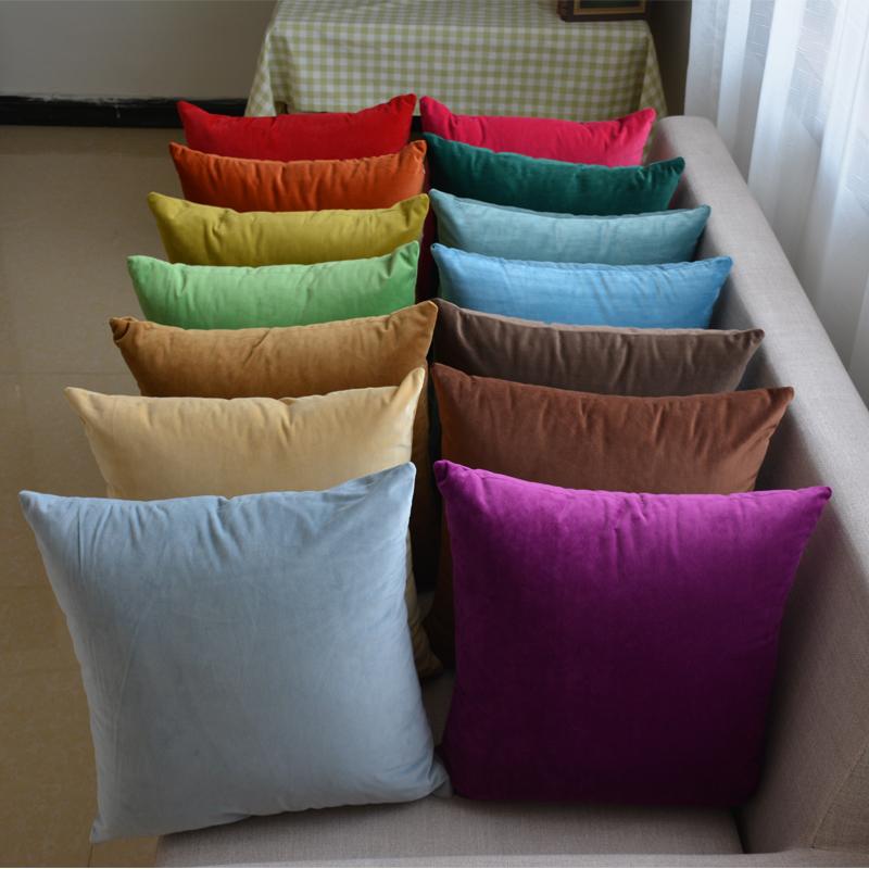 欧式客厅沙发纯色超柔靠垫套抱枕