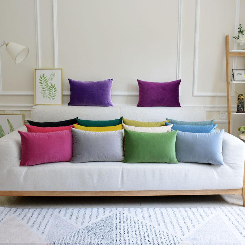 新款纯色天鹅绒欧式沙发长方形抱枕