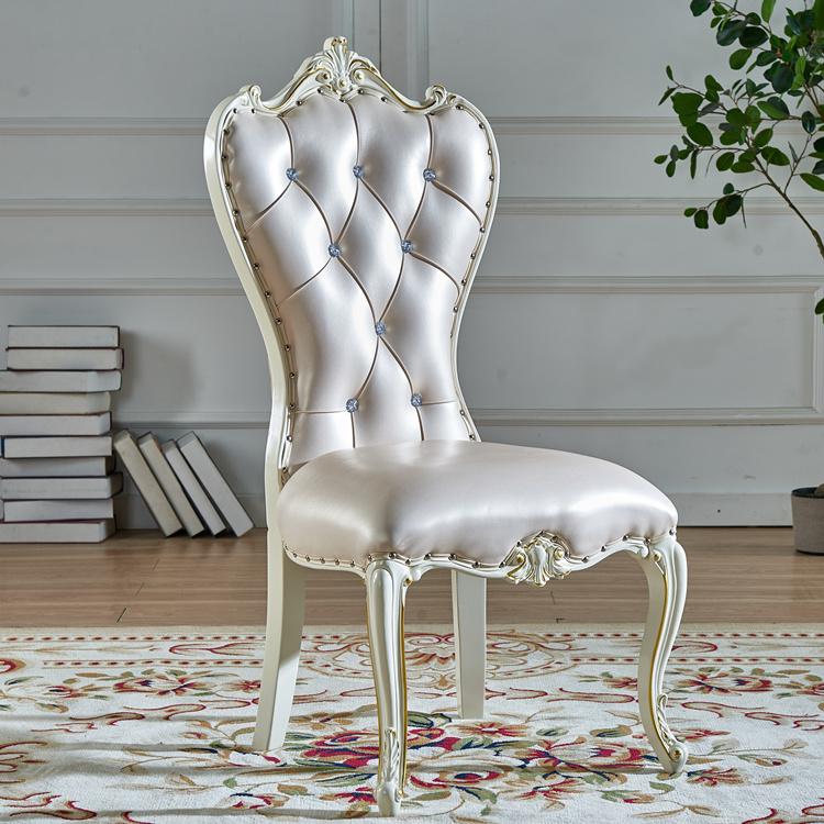 现代简约欧式餐椅实木酒店象牙白色美甲靠背凳子单人家用餐厅椅子