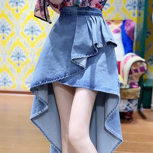一见钟情的裙子 西班牙风情 前短后长全棉不规则荷叶边牛仔裙新款