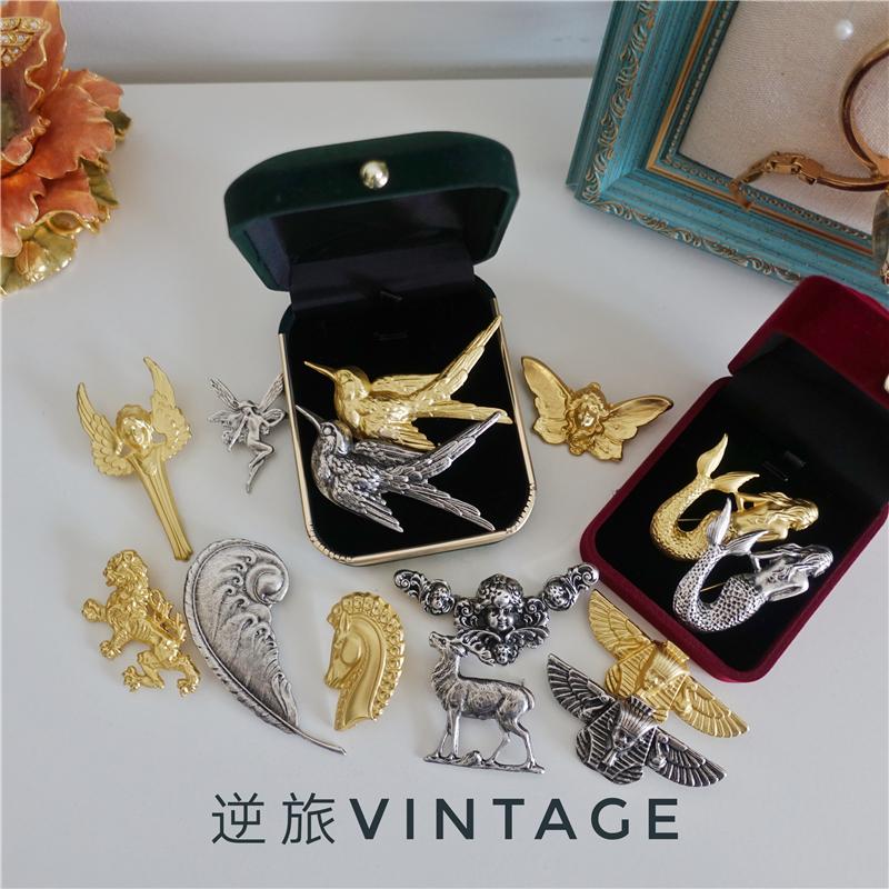 满50包邮《回馈》舶来品vintage男女古董复古巴洛克胸针礼物马兔