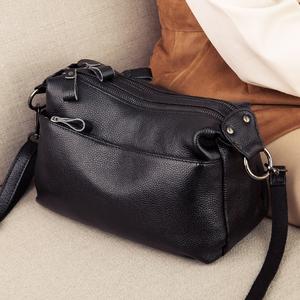 头层牛皮多层包包女2021新款时尚百搭真皮单肩斜挎包女小包手提包