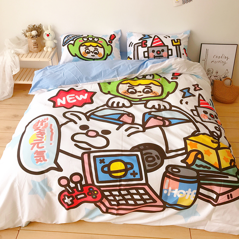 All cotton cute childrens cartoon four piece set Fushan Japanese store pure cotton dormitory sheet quilt cover bedding