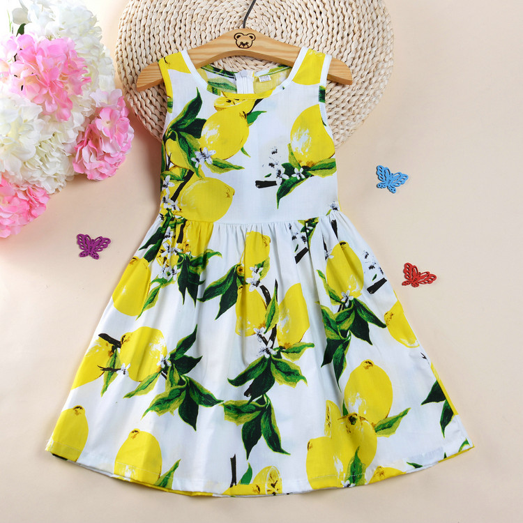 2017 лето девочки летний костюм лимон платье жилет юбка манго небольшой свежий юбка такой же, как у звезды юбка