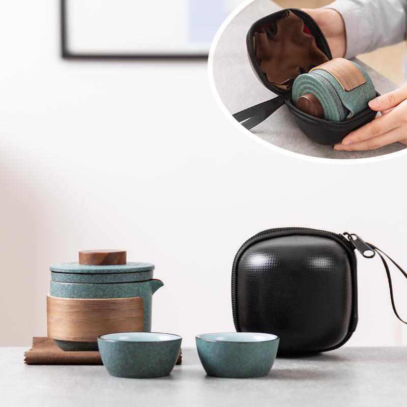 快客杯旅行茶具套装便携包一壶二杯单人泡茶壶户外随身功夫简约易