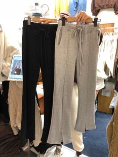 韓國東大門秋冬新款純色系帶鬆緊腰開叉休閒闊腿褲女高腰氣質長褲