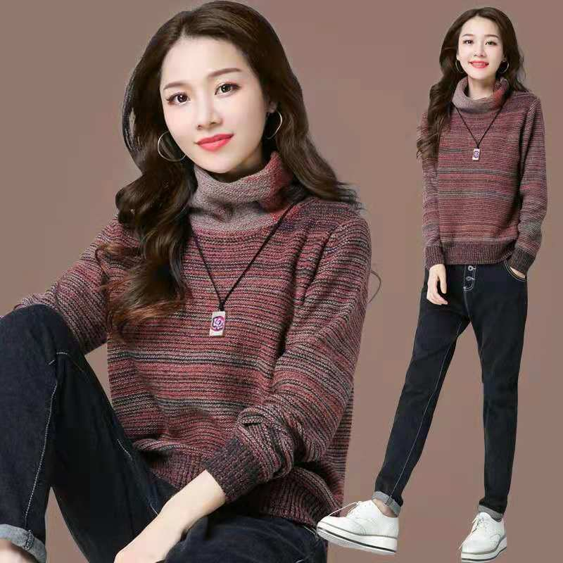 Autumn and winter short stripe sweater womens Pullover Sweater loose color matching high neck base coat pile Neck Long Sleeve Sweater