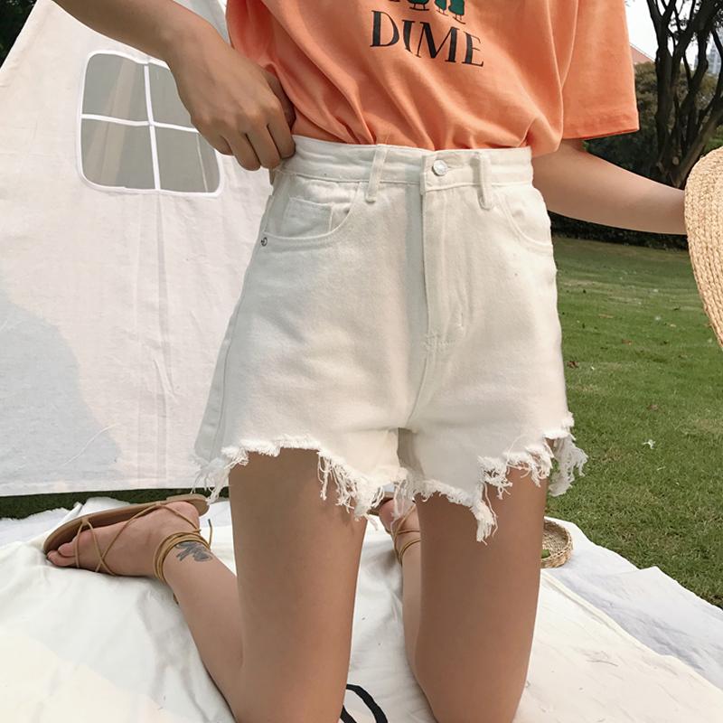 2018新款韩版显瘦高腰毛边阔腿短裤券后16.90元