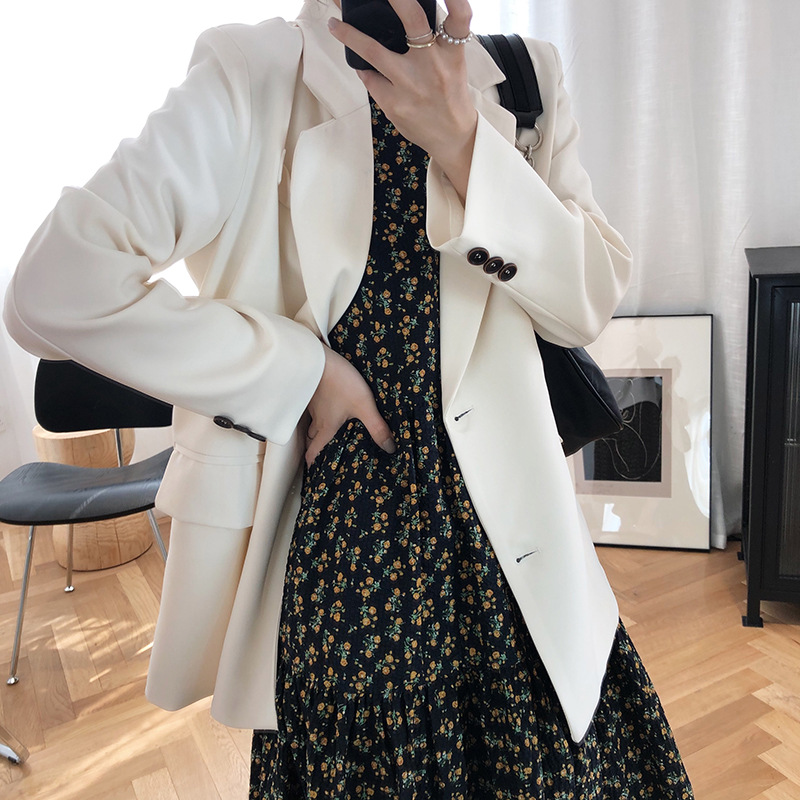 Da Maos white small suit coat womens new spring 2020 casual loose double breasted suit top