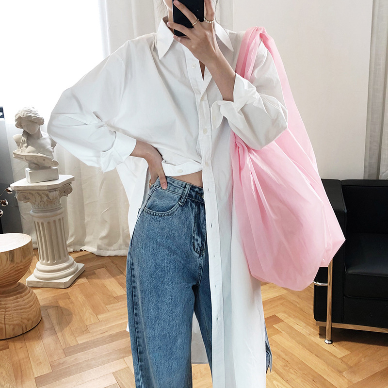 Big cats pure color shirt dress womens 2021 new mid length over knee lazy BF style simple loose shirt dress