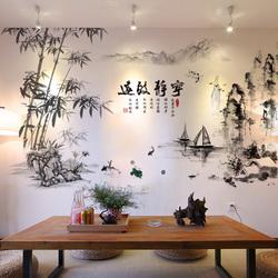 创意贴画宁静致远山水风景画自粘墙贴纸客厅沙发电视背景墙壁装饰