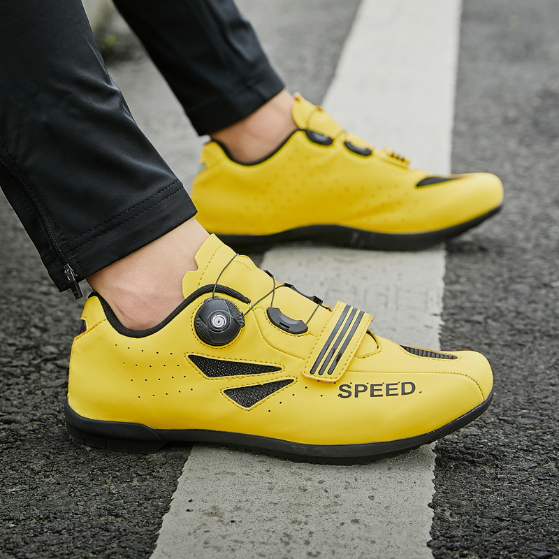 Road bike lockless riding shoes mens and womens breathable outdoor mountain bike power cycling casual shoes hard soles 46