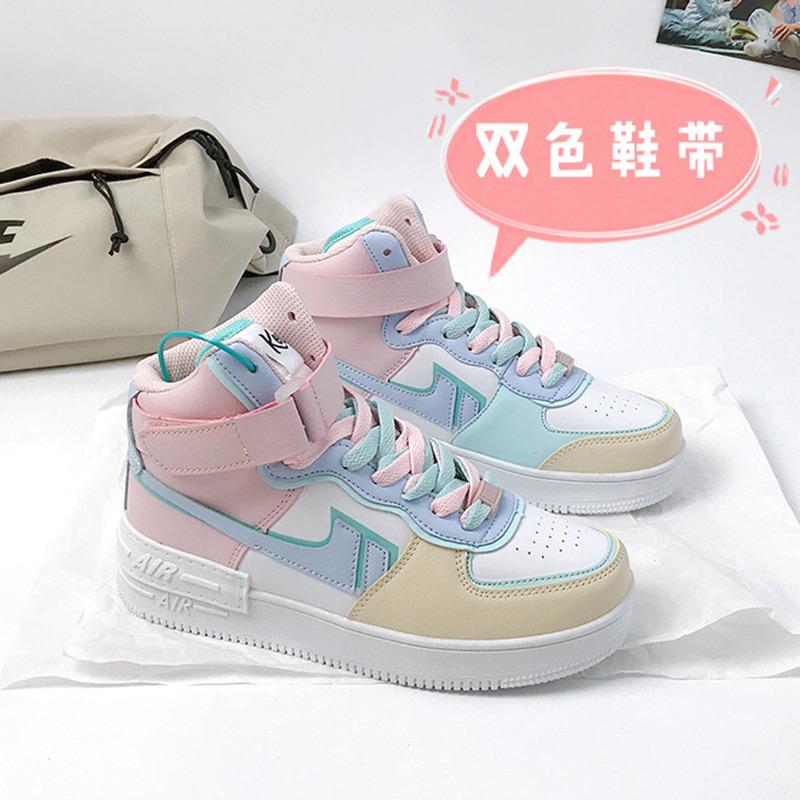 空军一号休闲蜜桃高帮jk鞋女鞋马卡龙独角兽运动鞋aj女樱花粉正版