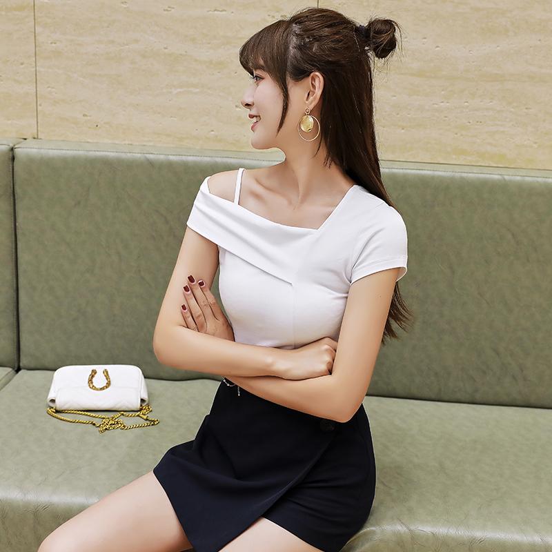 券后96.00元学生夏季纯白色短袖T恤女V领宽松纯棉纯色超火性感打底衫百搭韩版