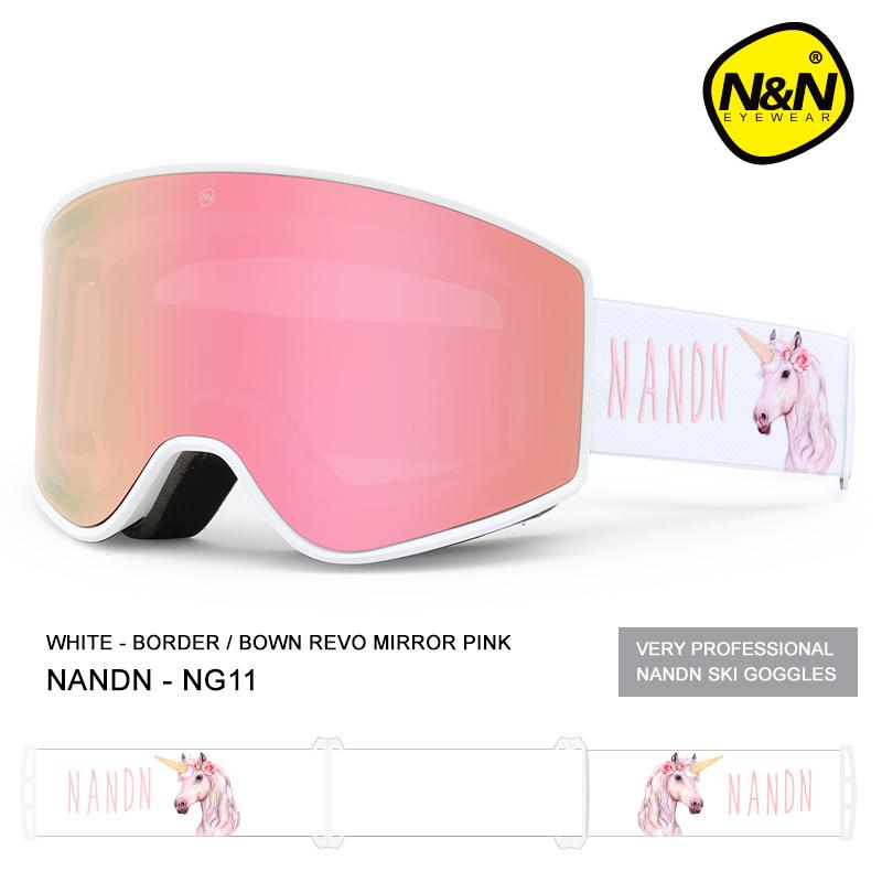 南恩NANDN20-21款柱面滑雪眼镜男女单双板滑雪镜双层防雾滑雪装备