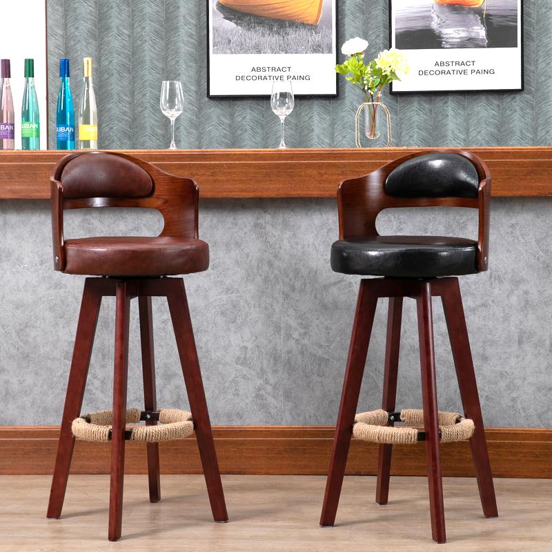 吧台椅实木旋转高脚凳子家用轻奢前台收银椅酒吧靠背椅现代简约