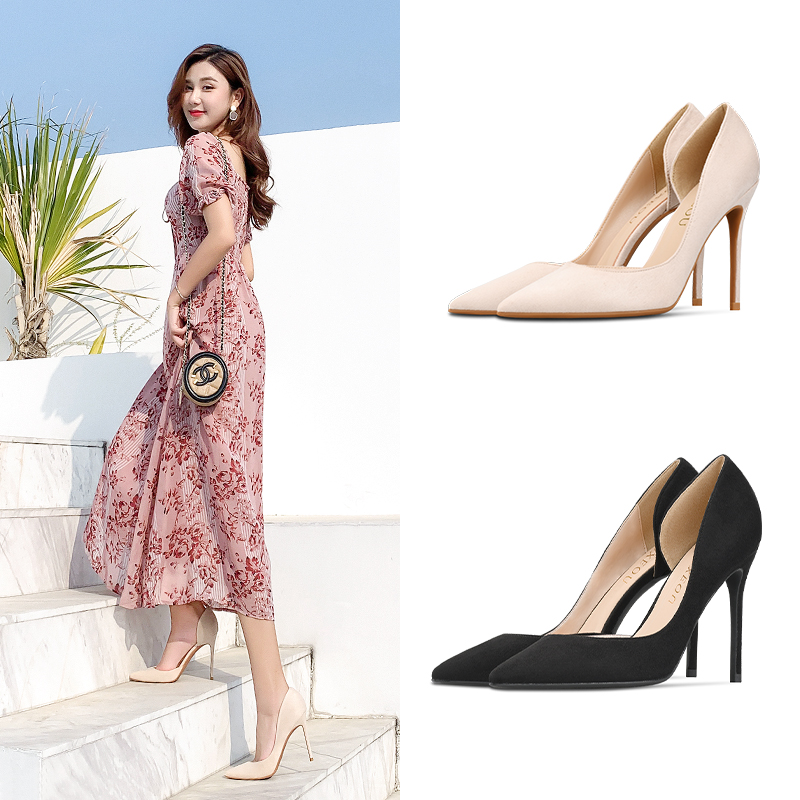 2020 spring new fashion versatile suede shallow mouth pointed thin heel side empty high heels daily office shoes