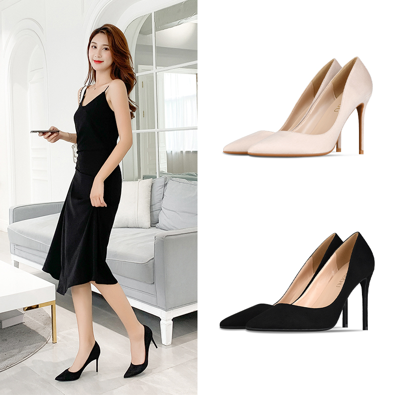 2020 new high-heeled suede shoes with pointed thin heel and shallow mouth