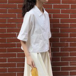 韩版宽松小众设计感学院风百搭口袋polo领短款短袖衬衣衬衫上衣女