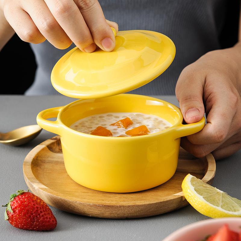 舒芙蕾烤碗带盖双耳燕窝甜品陶瓷碗蒸蛋炖汤盅家用烘焙餐具碗单个