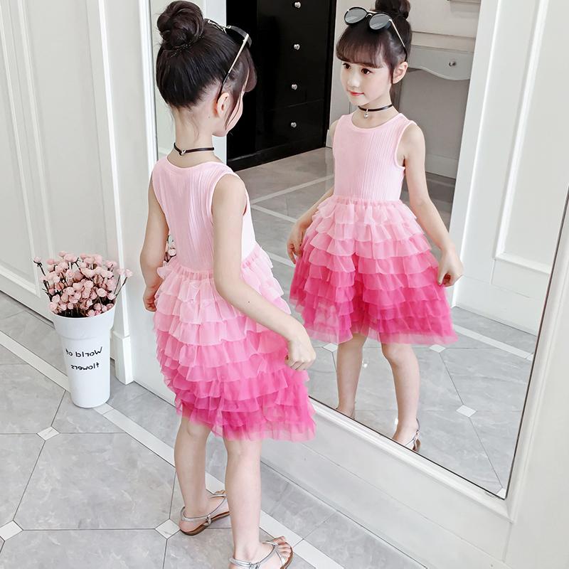 女童装夏季蛋糕连衣裙2021年新款中童小女孩洋气无袖公主网红裙子