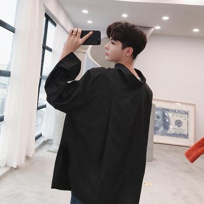 新款韩版特殊领子长袖纯色衬衫情侣款BF风C089 P60(不低于70)