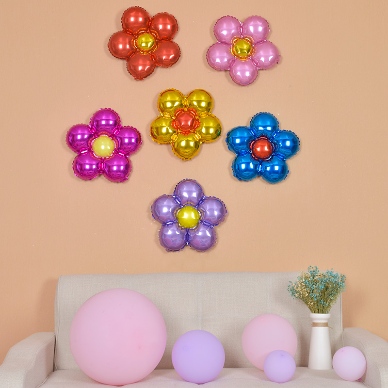 生日派对用品 儿童 生日装扮布置 铝膜气球卡通 花朵铝箔气球,可领取3元天猫优惠券
