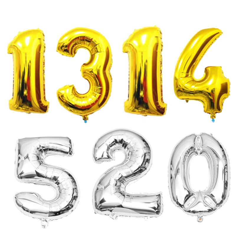 大号铝箔气球 铝膜 数字0-9金银色精装 结婚庆典生日派对用品装饰,可领取3元天猫优惠券