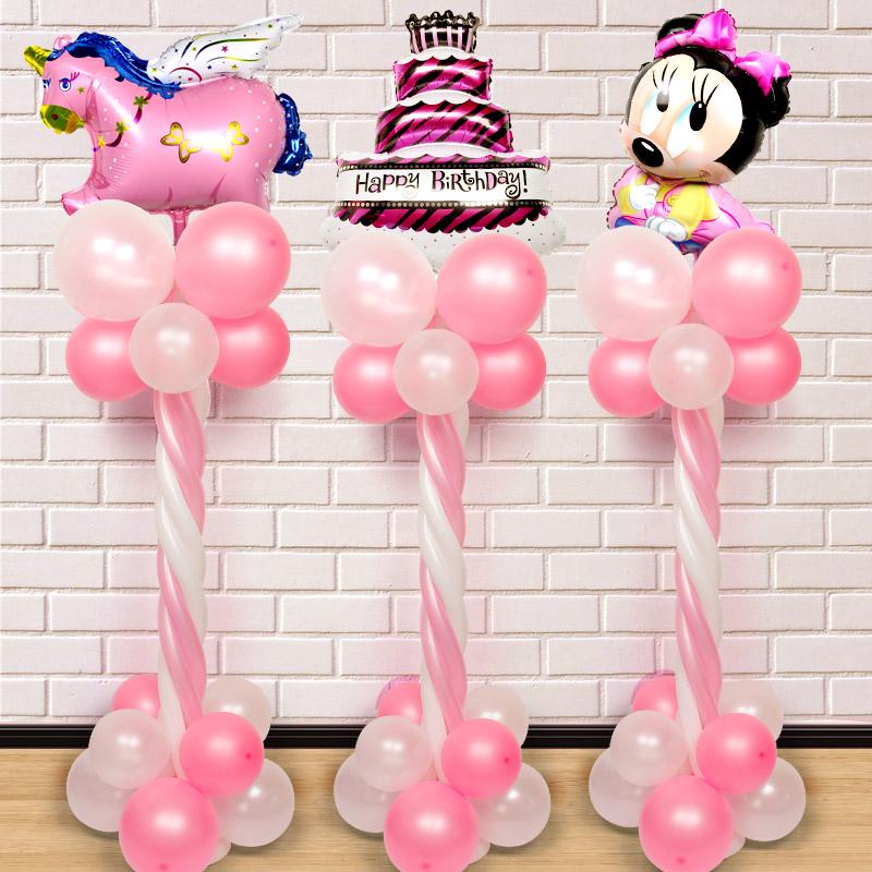 生日布置气球宝宝周岁满月百天派对KTV酒店舞台装饰立柱路引气球,可领取3元天猫优惠券