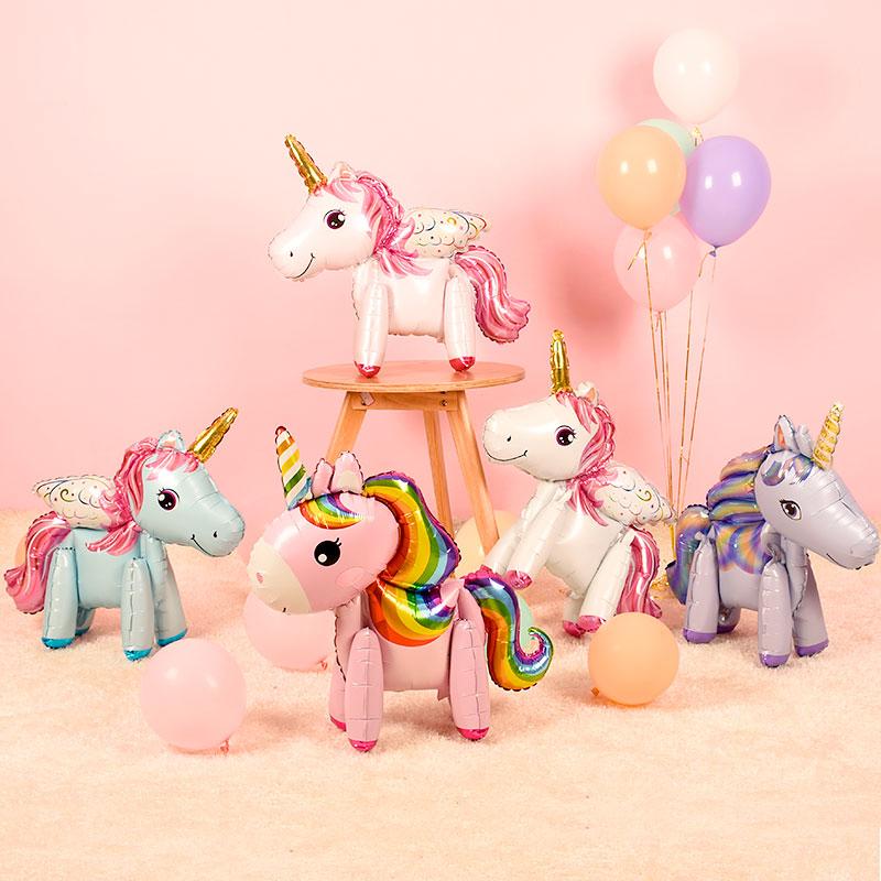 卡通独角兽主题宝宝一周岁生日布置气球儿童生日派对铝膜气球装饰