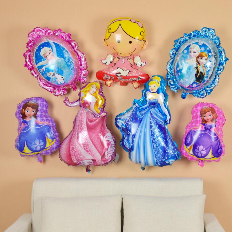 可爱卡通铝膜气球生日派对装饰冰雪奇缘宝宝周岁装饰布置迷你气球,可领取3元天猫优惠券