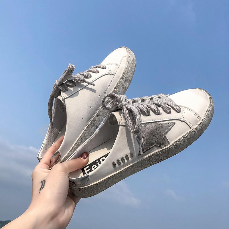 半拖鞋女外穿2020新款网红无后跟懒人鞋星星做旧小白鞋百搭脏脏鞋