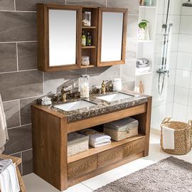 卫生间实木浴室柜洗漱台大理石洗手台盆柜组合厕所落地式双洗脸盆