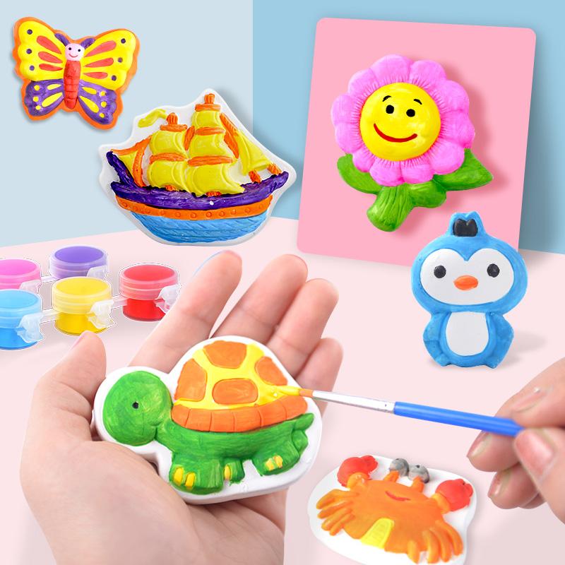 儿童创意石膏娃娃涂色画幼儿园手工diy制作玩具白胚模具陶瓷绘画