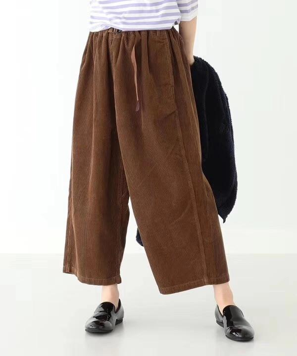 日本订单!beams boy户外潮牌 复古腰带灯芯绒阔腿裤 简单休闲裤