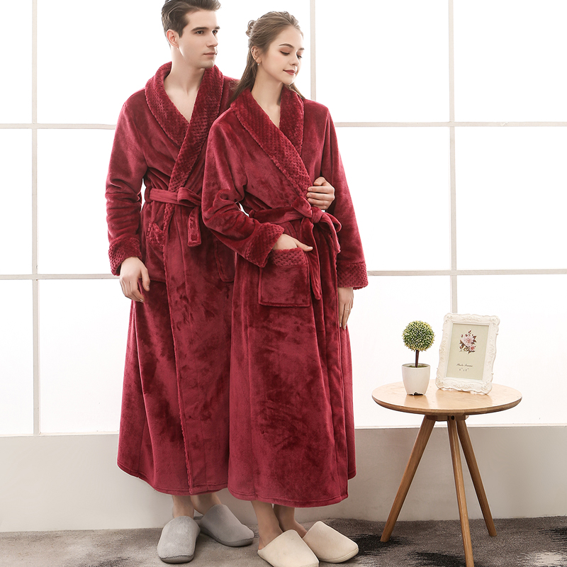Thickened flannel couple Nightgown womens autumn and winter lengthened mens coral velvet matching bathrobe bathrobe adult pajamas