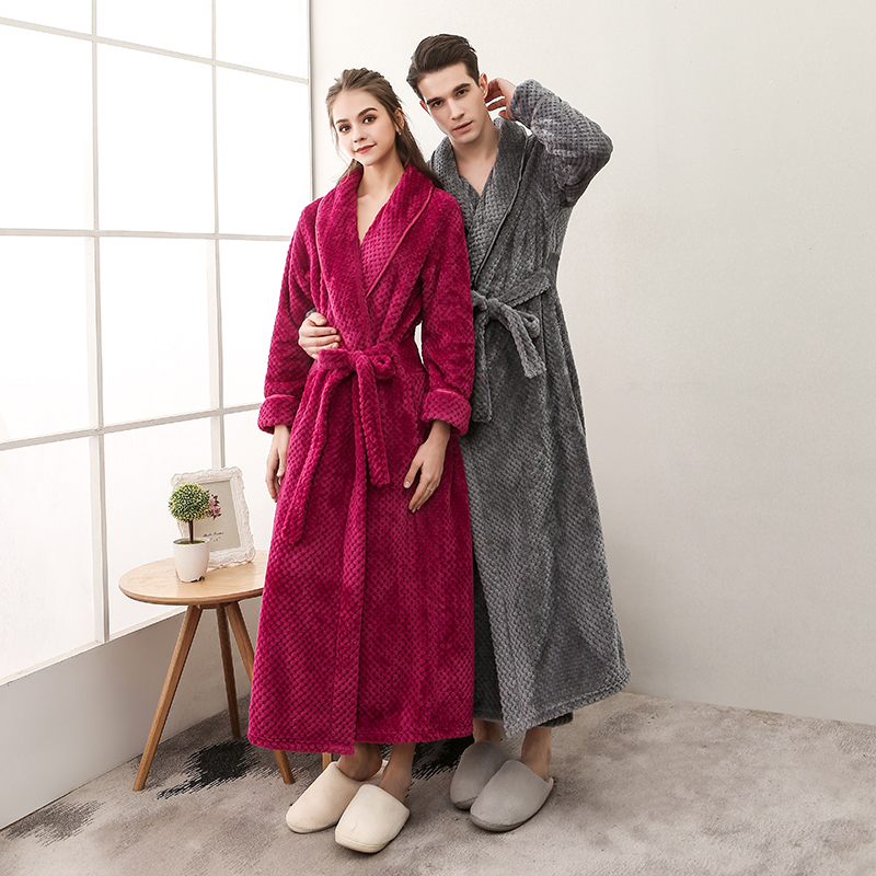 Pajama women autumn and winter flannel couple pajamas coral velvet bathrobe mens thickened extended home clothes bathrobe