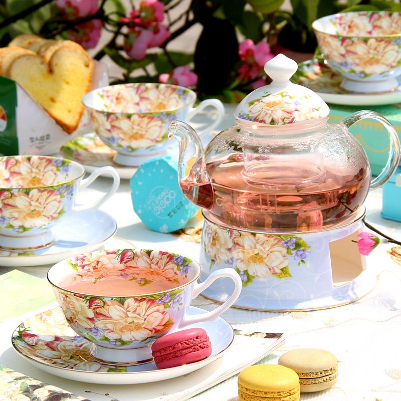 花茶杯水果茶壶套装下午茶茶具陶瓷轻奢茶杯玻璃茶具家用蜡烛加热