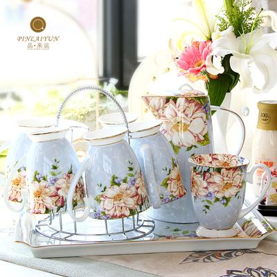 水杯杯具家用套装陶瓷客厅杯子托盘水具欧式轻奢茶杯骨瓷水壶礼盒