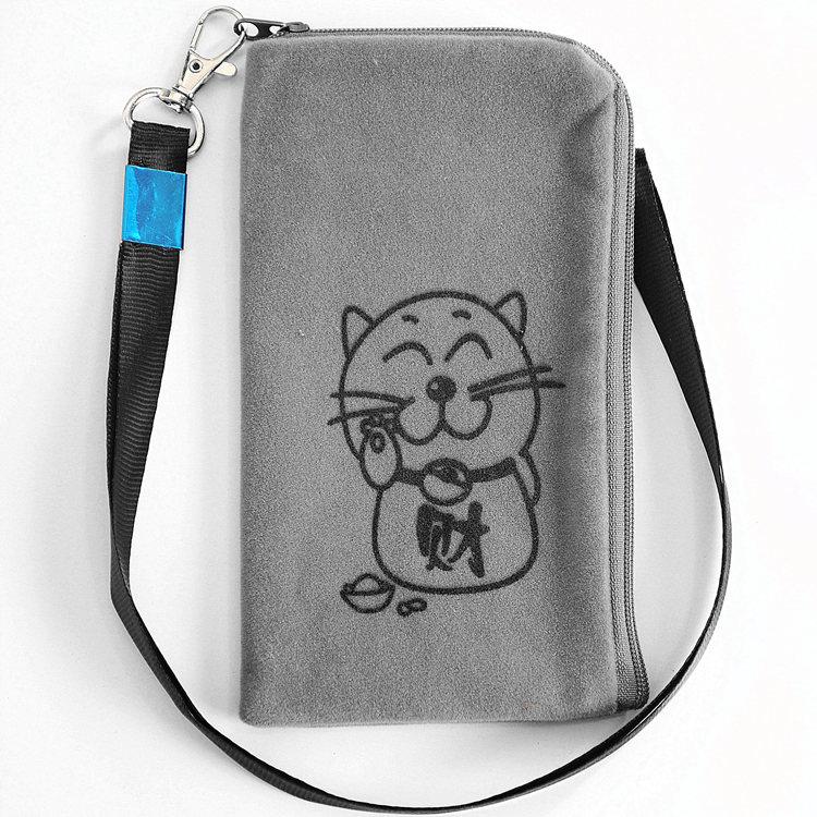 5寸のファスナーバッグ高齢者は首の携帯電話の袋の绒布の袋のoppo携帯電話のカバーのファスナーのゼロの財布の2017新品を掛けます。