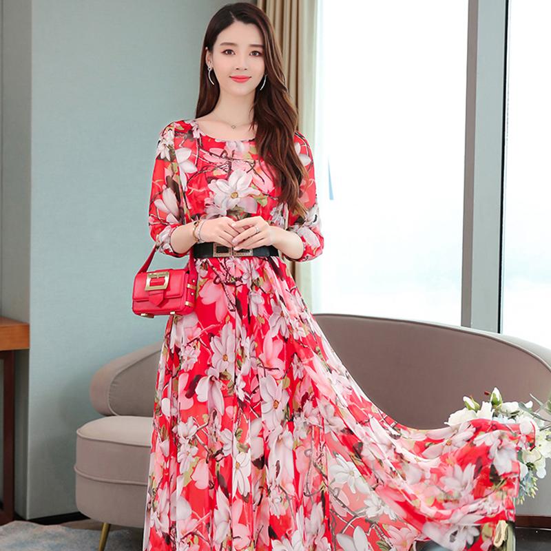 碎花连衣裙2019新款夏减龄洋气雪纺长裙显瘦显高气质遮肉收腰裙子热销0件包邮