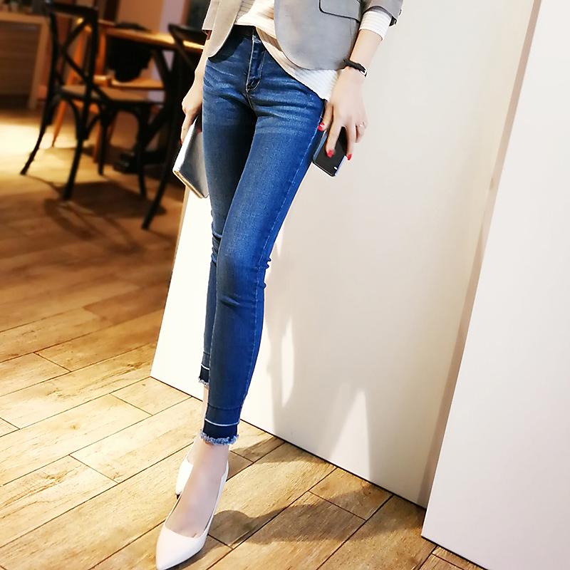 Package post four seasons Korean fashionable hem and raw edge elastic Slim Fit Jeans Pants